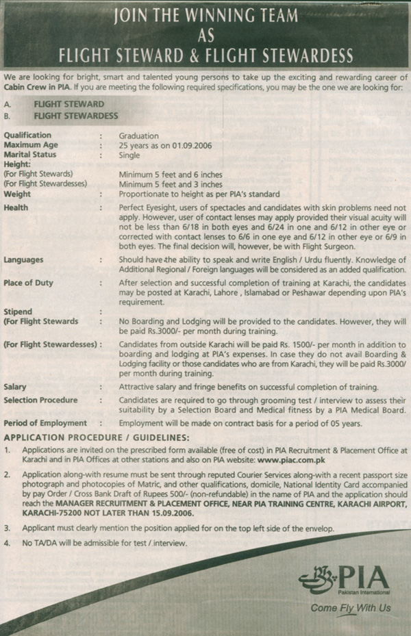 On the Net: Job for Flight Steward & Flight Stewardess (PDF file)