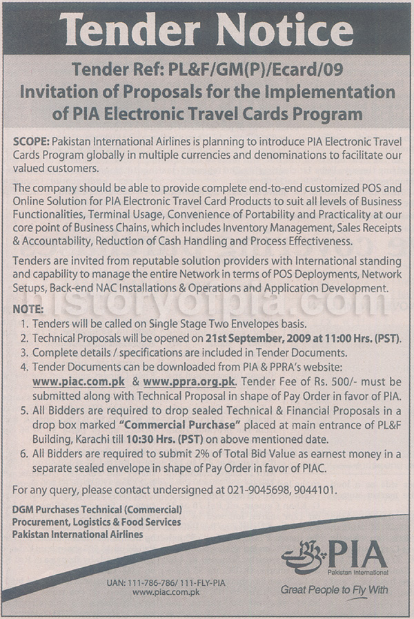 PIA To Introduce Electronic Travel Cards Program - History of PIA ...