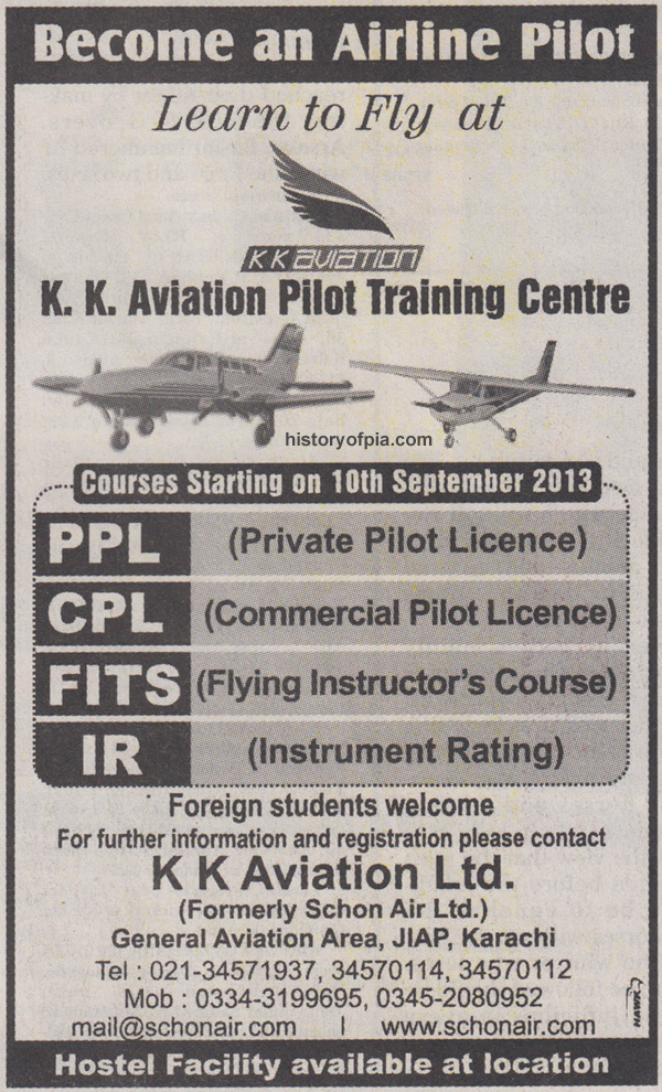 Become An Airline Pilot - K K  Aviation Ad in Newspaper