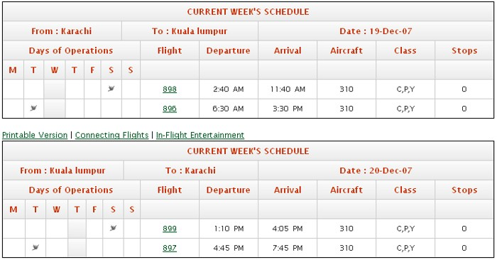 Karachi to lahore flight schedule