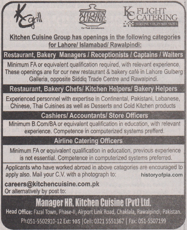 Kitchen Cuisine Hiring Airline Catering Officers