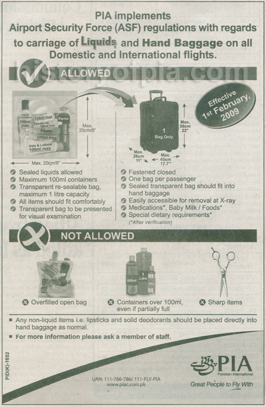 Liquids In Hand Baggage - PIA Implements ASF Regulations