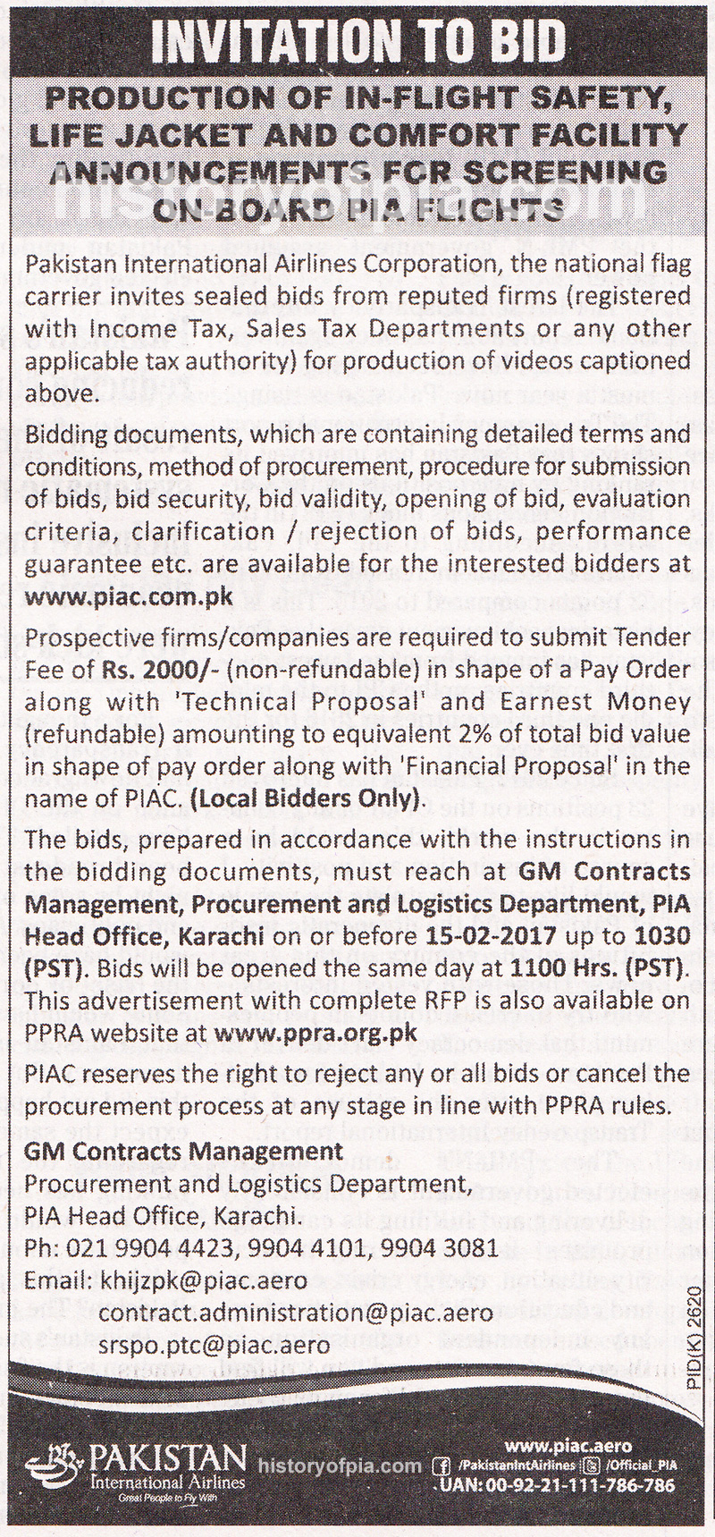 Pia Invites Bids For Production Of In Flight Safety Video History