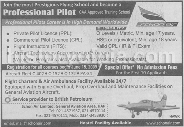 Become A Professional Pilot - Schon Air Ad In Newspaper - History of ...