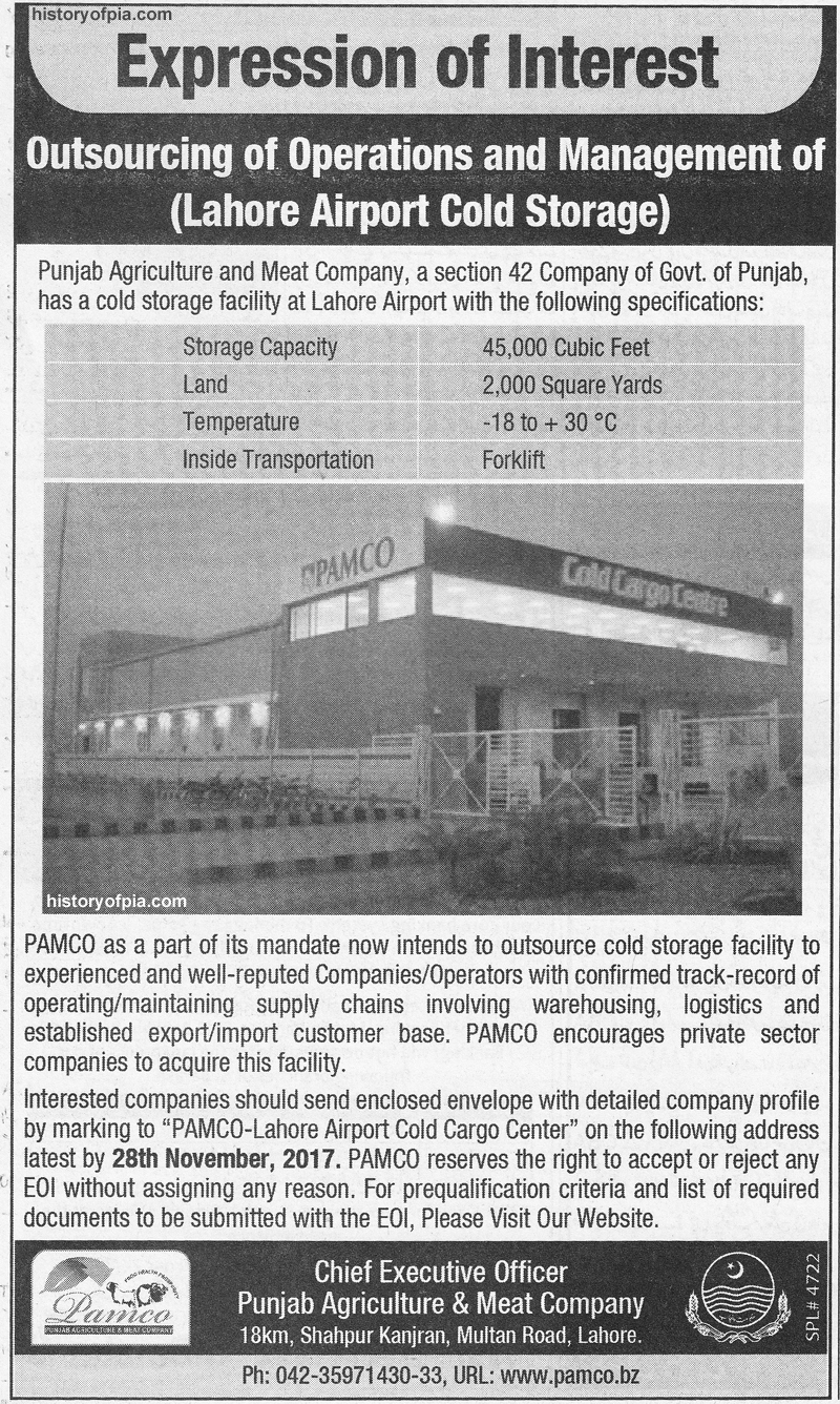 Lahore Airport Cold Storage Operations & Management to be