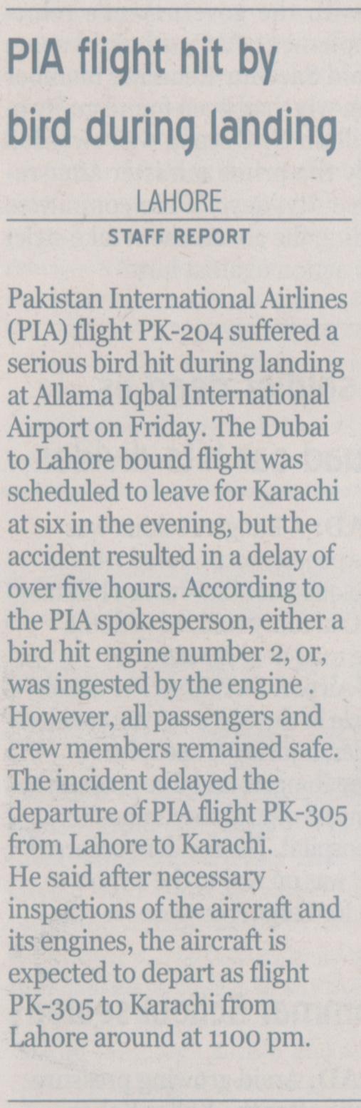 PIA Dubai-Lahore Flight PK-204 Suffers Bird Hit - History of