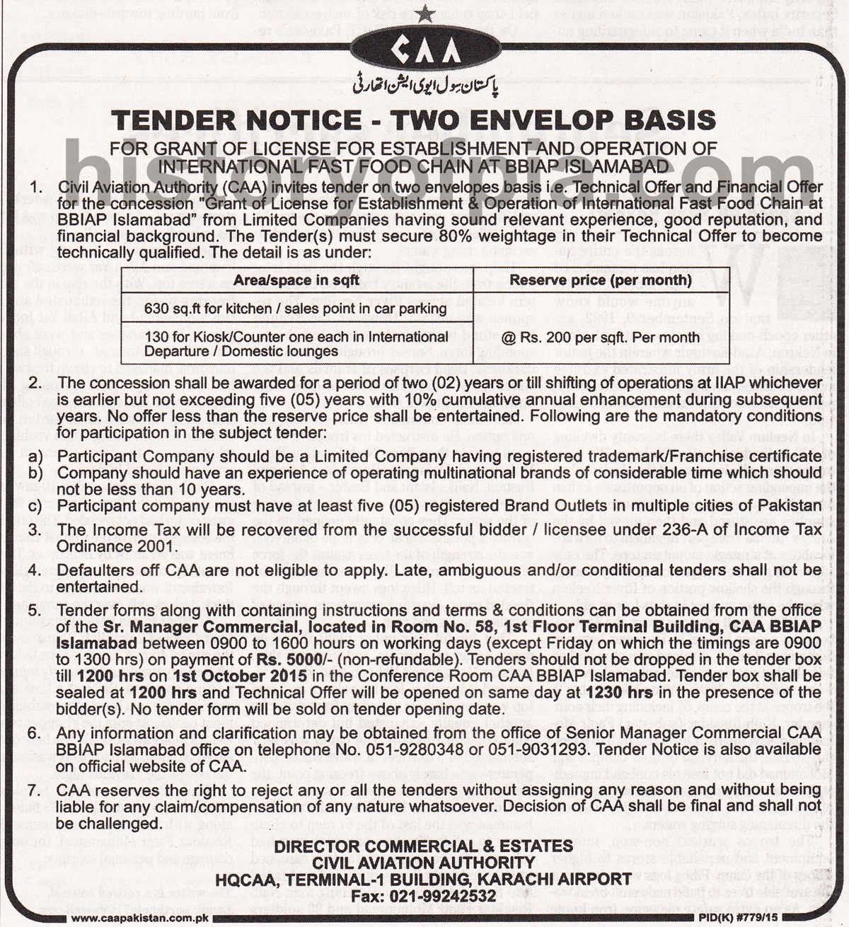 CAA Invites Tenders for Establishment of International Fast Food ...