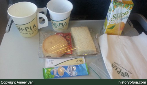 PIA Economy Class meal