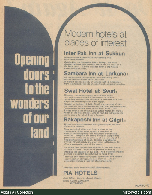 PIA Hotels Advertisement
