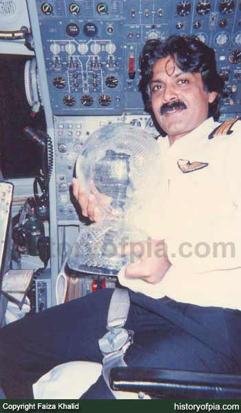 1992 - Flight Engineer Tauheed holding 1992 Cricket World Cup trophy won by