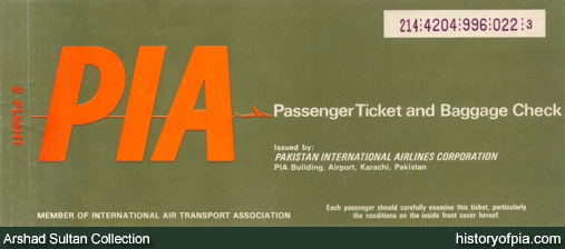 PIA Passenger Ticket and Baggage Check